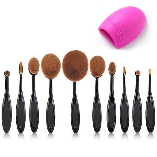 Beauty Kate Pro 10 Pcs Oval Makeup Brush Set